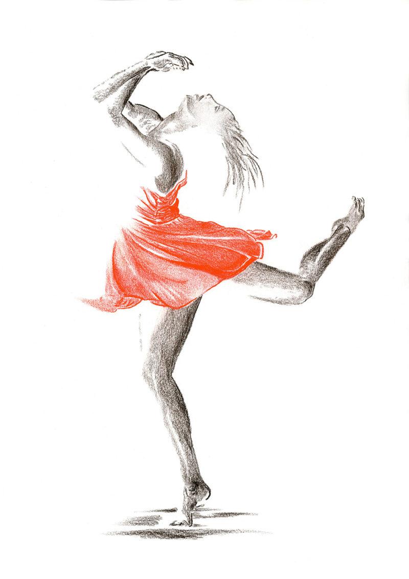 Dancer in red dress – sepia