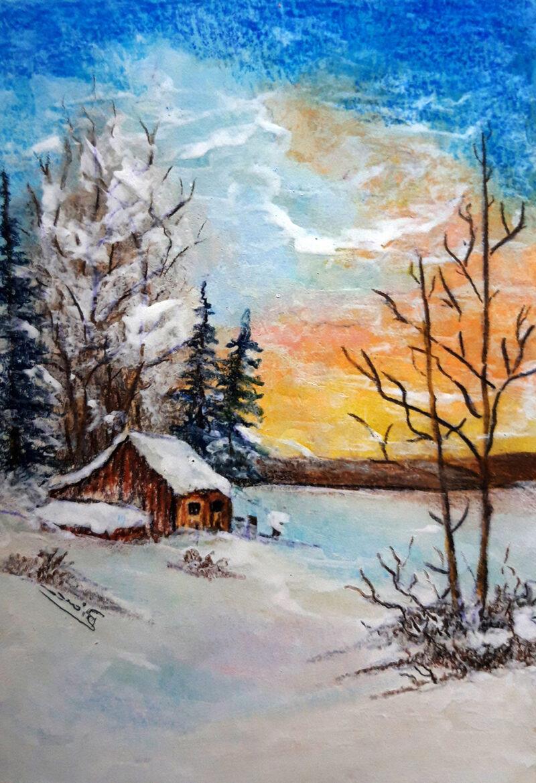Winter landscape – colored pencils