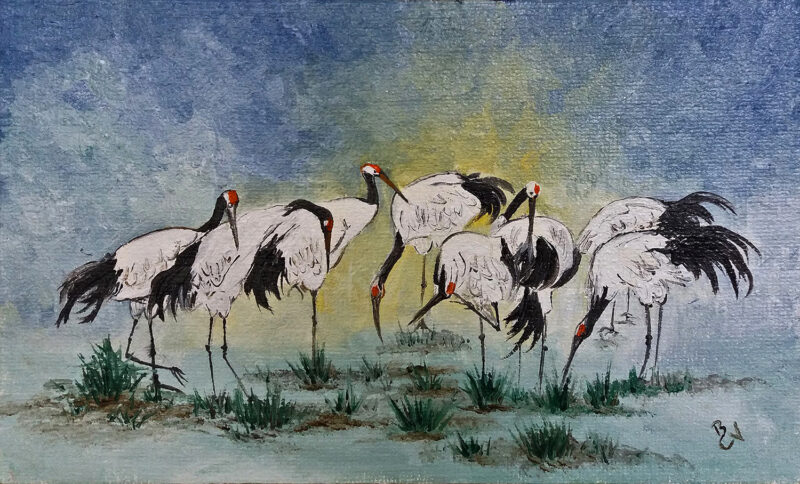 Red-crowned cranes – oil on canvas
