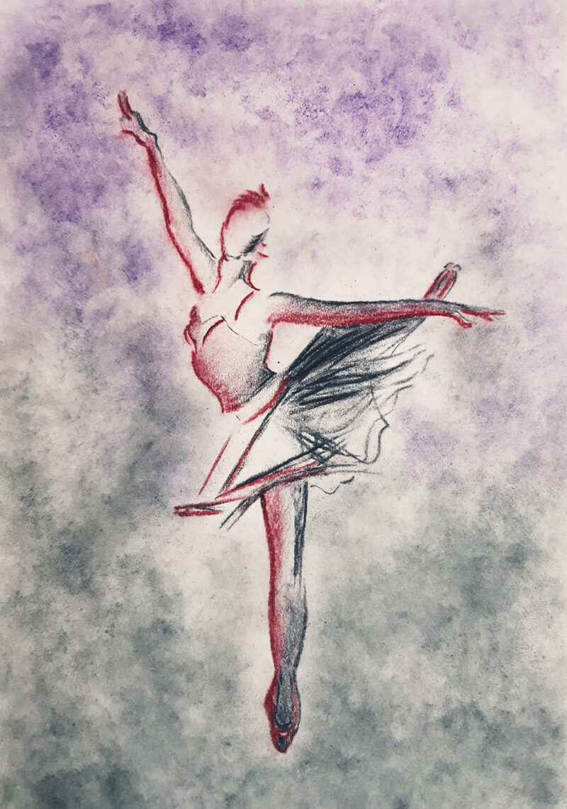 Stylized ballerina – mixed media