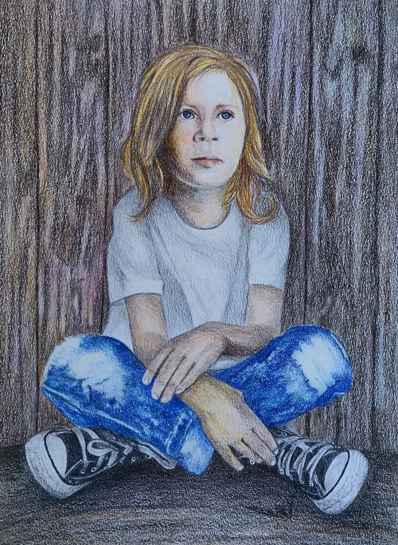The kid – colored pencils