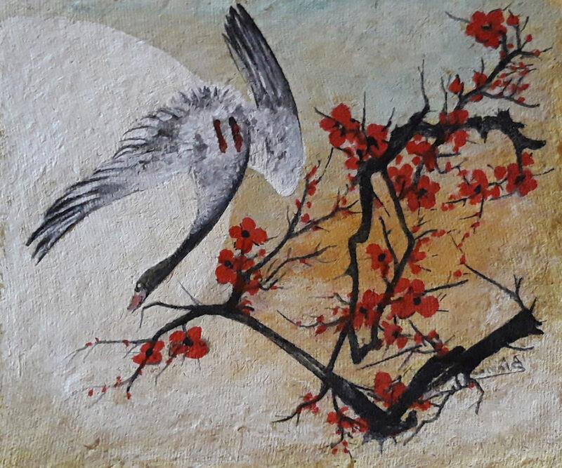 Duck in spring blossom – handmade paper