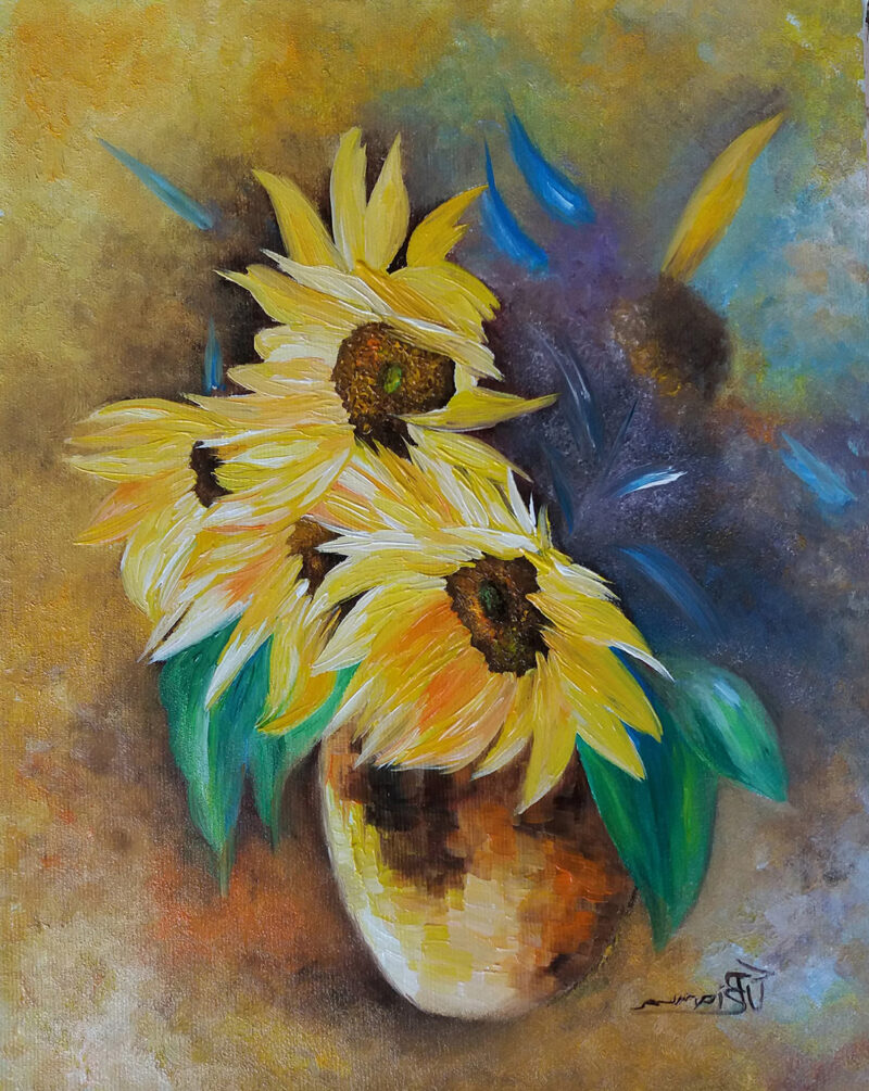 Vase with sunflowers – oil on canvas