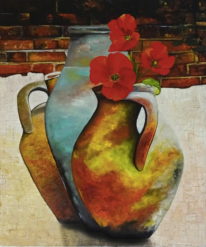The wall with three jugs and three poppies – oil on canvas