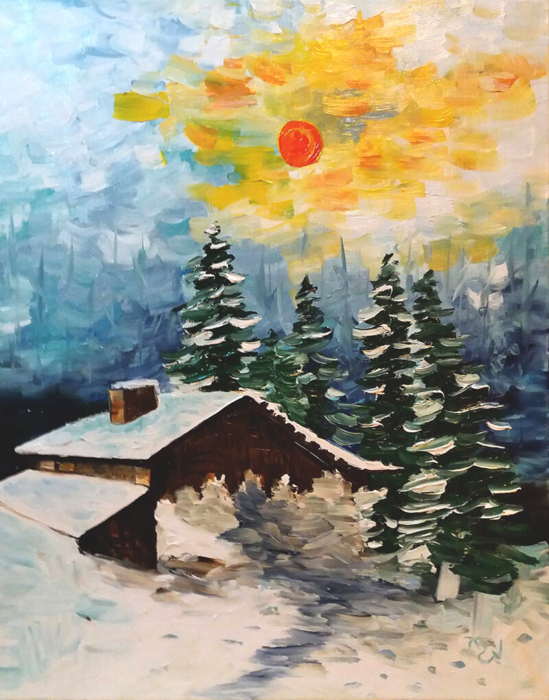 Winter evening – oil on canvas