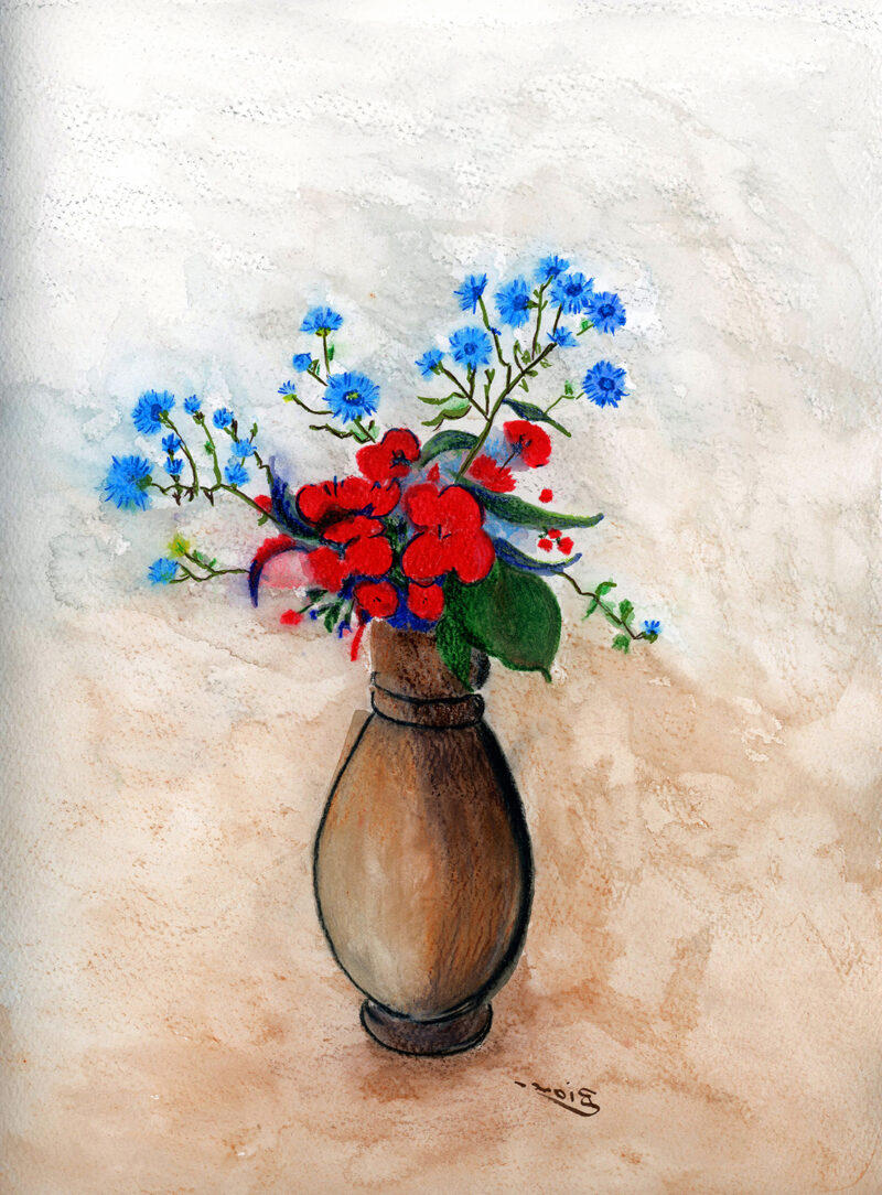 Vase with flowers – watercolor