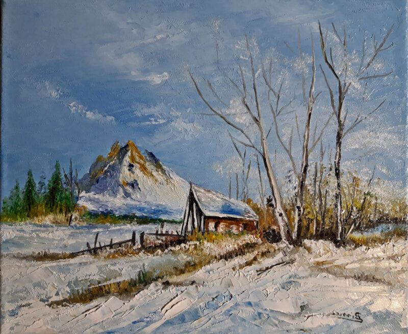 Mountain winter house – oil on canvas