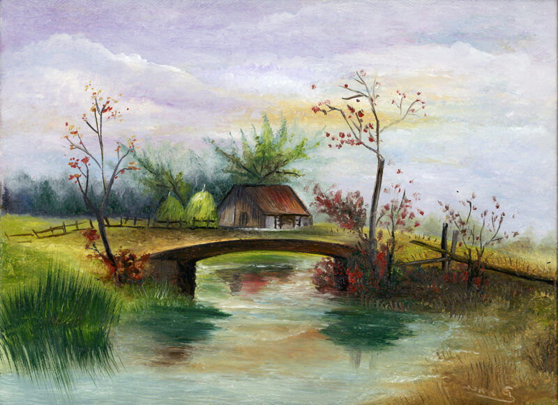 House next to the river – oil on canvas