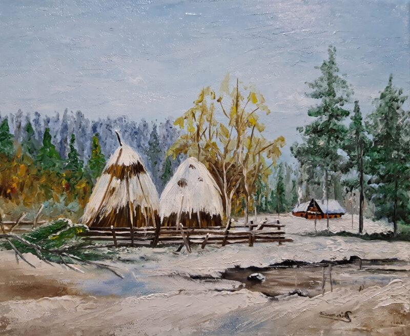 Village winter house – oil on canvas