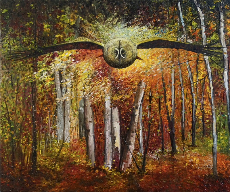 Flying owl in the forest – oil on canvas