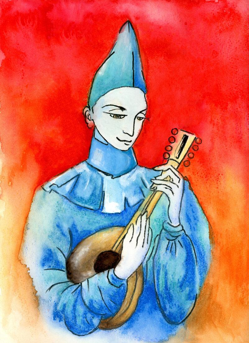 Mandolin singing – watercolor