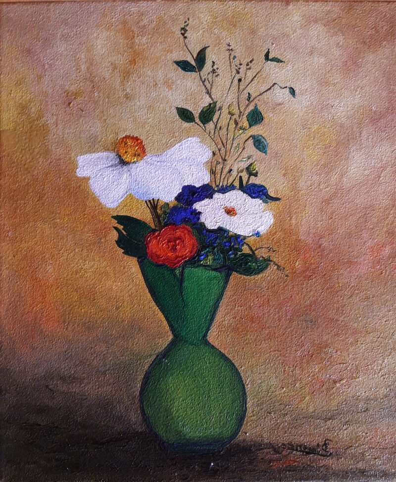 Vase with flowers – oil on canvas