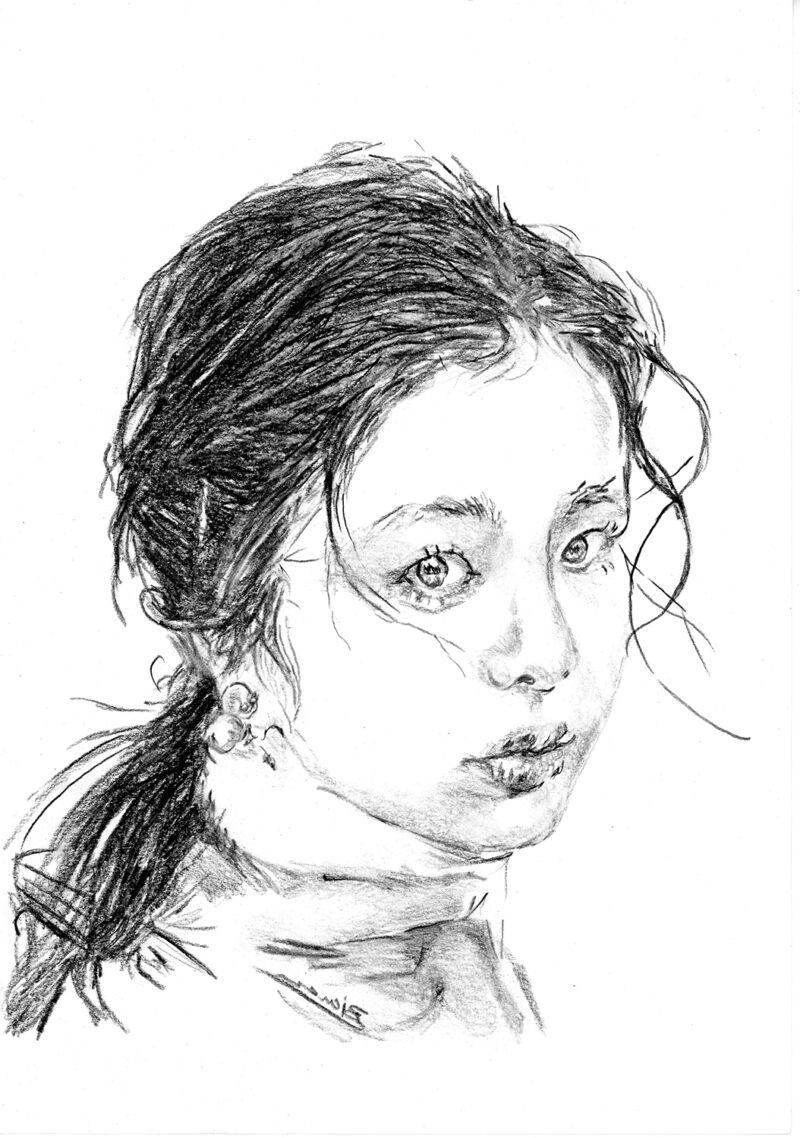 Girl portrait – pitt pencils