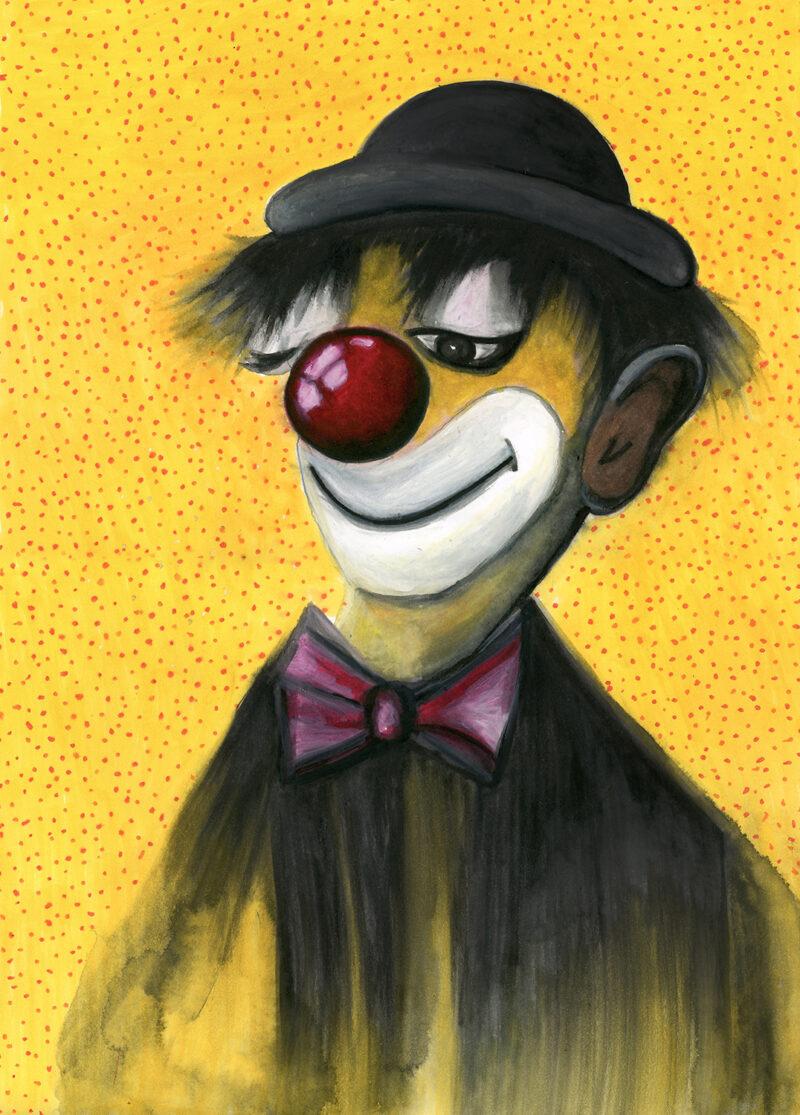Happy clown – watercolor