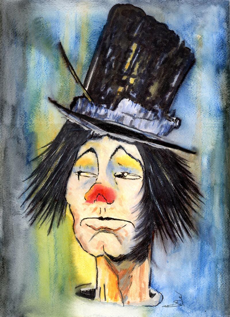 Drunk clown – watercolor
