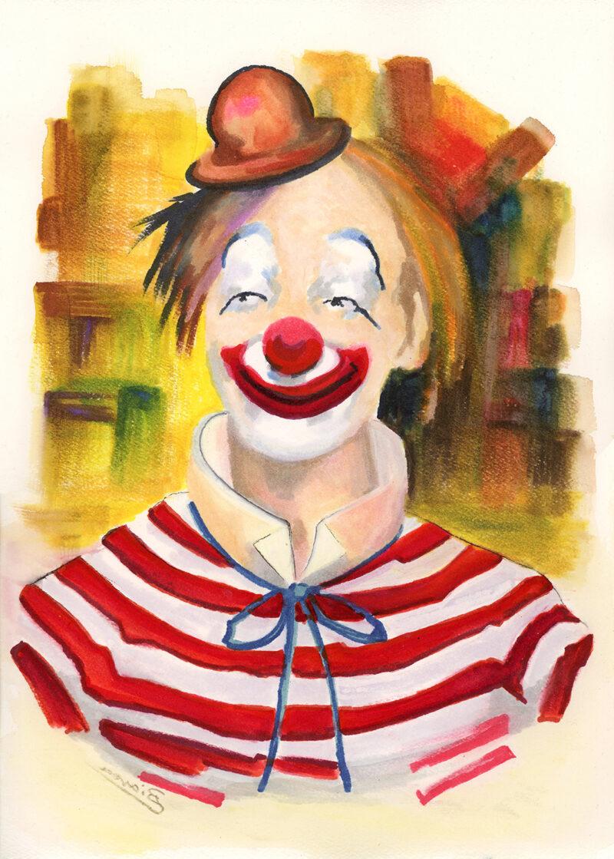 Clown portrait – watercolor